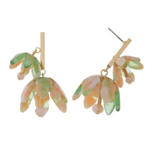 """Gold tone post earrings with two acetate flowers. Approximately 1.5"""" in length."""
