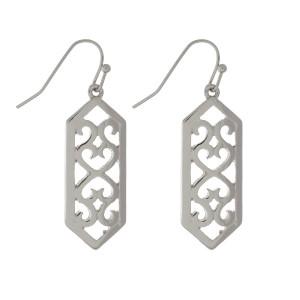 """Dainty, metal, fishhook earrings with a swirl pattern. Approximately 1.5"""" in length."""