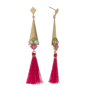 "Burnished gold tone post earrings with a thread tassel and rhinestone accents. Approximately 4"" in length."