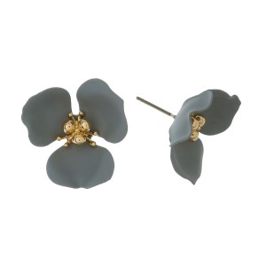 """Stud earrings with a flower focal. Approximately 1"""" in size."""