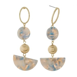 """Gold tone post earrings with acetate shapes and bead accents. Approximately 3"""" in length."""