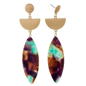 """Brushed gold tone post earrings with an oval acetate shape. Approximately 3"""" in length."""