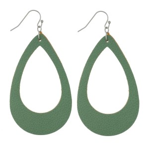 "Faux leather earrings with a cutout teardrop shape and a pebbled look. Approximately 2.5"" in length."