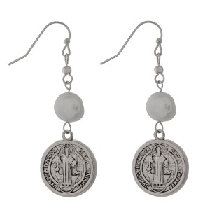 """Fishhook earrings with a coin and a freshwater pearl bead. Approximately 2"""" in length."""