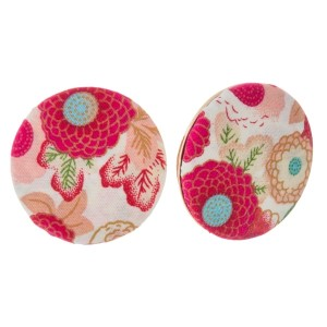 "Circle shaped, floral fabric stud earrings. Approximately 1.25"" in diameter. Each earring is made with the same fabric but pattern or placement may vary."
