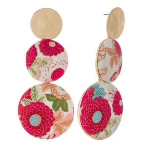 "Three circle shaped, floral fabric stud earrings. Approximately 3.25"" in diameter. Each earring is made with the same fabric but pattern or placement may vary."