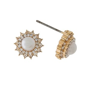 """Dainty pearl stud earrings with clear rhinestone accents. Approximately 1/3"""" in size."""