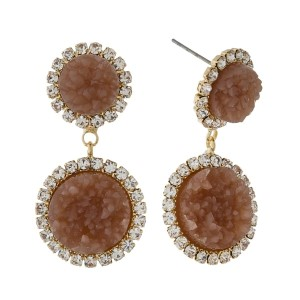 """Post style earrings with two faux druzy stones and clear rhinestone accents. Approximately 1.5"""" in length."""
