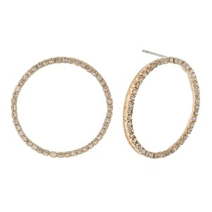 """Dainty circle stud earrings with clear rhinestones. Approximately 1"""" in diameter."""