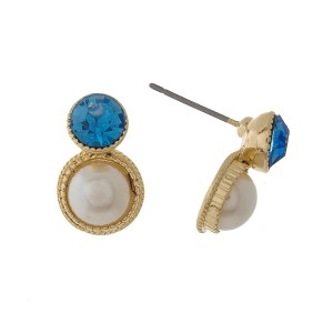 """Dainty pearl bead stud earrings with a rhinestone accents. Approximately 1/2"""" in length."""