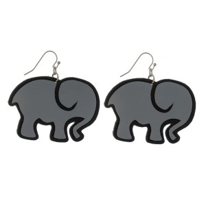 """Gray and black, faux leather elephant earrings. Approximately 1.25"""" in length."""