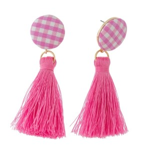 """Circle shaped, gingham fabric stud earrings with a thread tassel. Approximately 3"""" in length."""