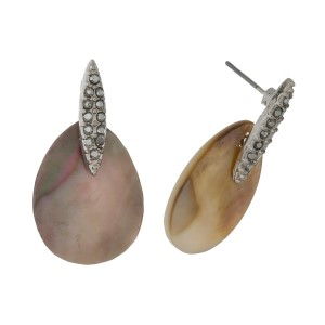 """Stud earrings with a teardrop shell focal and hematite rhinestones. Approximately 1"""" in length."""