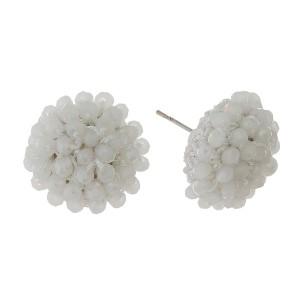 "Fully beaded, dome stud earrings. Approximately 1/2"" in diameter."