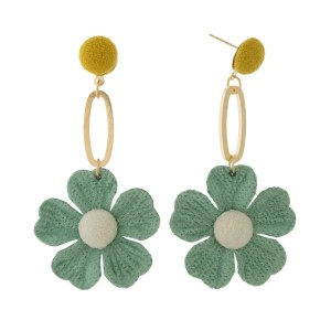 """Gold tone post earrings with a fabric flower statement. Approximately 3"""" in length."""