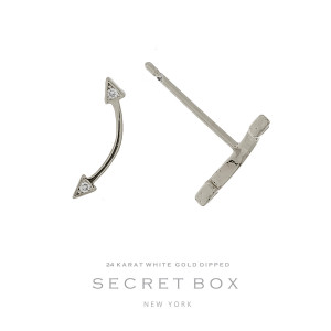 """Secret Box 24 karat white gold dipped over brass arrow stud earrings. Approximately 1/2"""" in length. Sold in a gift box."""