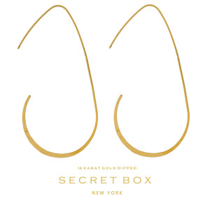 """Secret Box 14 karat gold dipped over brass textured, oval shaped earrings. Approximately 2.5"""" in length. Sold in a gift box."""