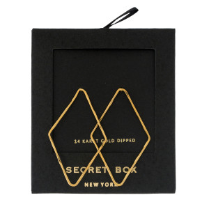 """Secret Box 14 karat gold dipped over brass diamond shaped stud earrings. Approximately 2"""" in length. Sold in a gift box."""