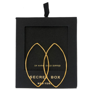 """Secret Box 14 karat gold dipped over brass oval shaped stud earrings. Approximately 2"""" in length. Sold in a gift box."""