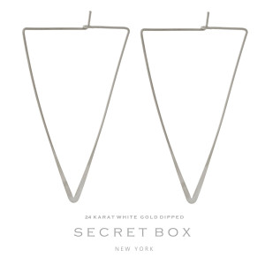 """Secret Box 24 karat white gold dipped over brass triangle shaped hoop earrings. Approximately 2"""" in length. Sold in a gift box."""