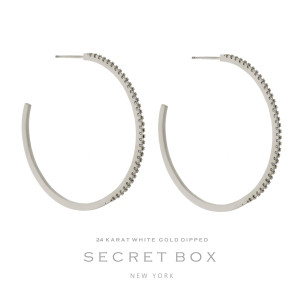 """Secret Box 24 karat white gold dipped over brass circle shaped hoop earrings. Approximately 2"""" in diameter. Sold in a gift box."""