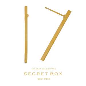 """Secret Box 14 karat gold dipped over brass bar stud earrings. Approximately 1.25"""" in length. Sold in a gift box."""