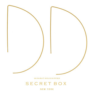 """Secret Box 14 karat gold dipped over brass half circle, whimsical earrings. Approximately 3"""" in length. Sold in a gift box."""