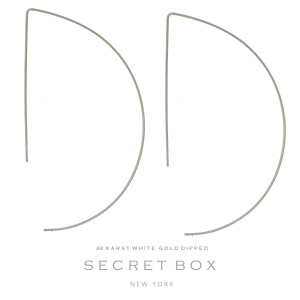 """Secret Box 24 karat white gold dipped over brass half circle, whimsical earrings. Approximately 3"""" in length. Sold in a gift box."""