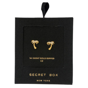"Secret Box 14 karat gold dipped over brass palm tree stud earrings. Approximately 1/2"" in length. Sold in a gift box."