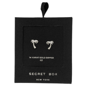 """Secret Box 24 karat white gold dipped over brass palm tree stud earrings. Approximately 1/2"""" in length. Sold in a gift box."""