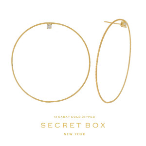 """Secret Box 14 karat gold dipped over brass circle shaped stud earrings with a rhinestone accent. Approximately 2"""" in length. Sold in a gift box."""