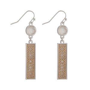 """Fishhook earrings with a filigree, rectangle shape and a mother of pearl backing. Approximately 2"""" in length."""