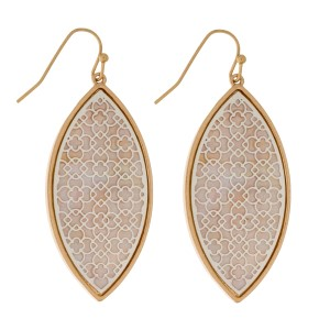 """Fishhook earrings with a filigree, teardrop shape and a mother of pearl backing. Approximately 2"""" in length."""