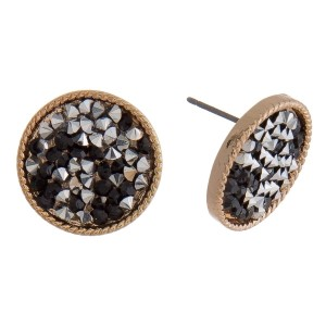 """Circle stud earrings with crushed rhinestones. Approximately 1/2"""" in diameter."""