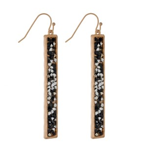 """Fishhook earrings with a rectangle shape and crushed rhinestones. Approximately 2.5"""" in length."""
