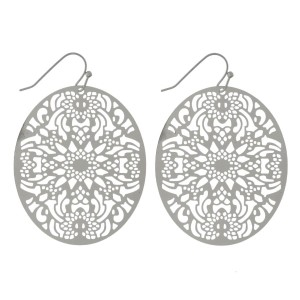"""Fishhook earrings with a filigree, metal, oval shape. Approximately 2"""" in length."""