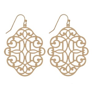 """Fishhook earrings with a filigree, metal, quatrefoil shape. Approximately 2"""" in length."""