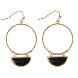 """Gold tone, fishhook earrings with an open circle shape and a natural stone. Approximately 2"""" in length."""