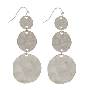 """Fishhook earrings with three, hammered, circle shapes. Approximately 2.5"""" in length."""