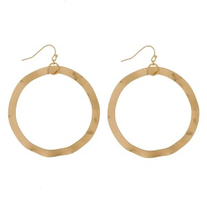 """Fishhook earrings with a wavy circle shape. Approximately 3"""" in length."""