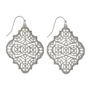 "Metal, fishhook earrings with a filigree quatrefoil shape. Approximately 2"" in length."