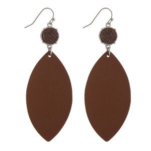 "Fishhook earrings with a faux druzy stone and a faux leather oval shape. Approximately 3.25"" in length."