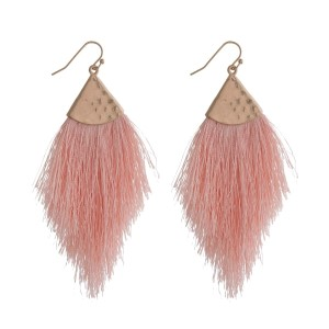 """Gold tone fishhook earrings with a soft, thread tassel. Approximately 3"""" in length."""