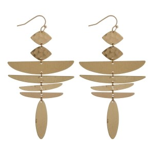 """Long, burnished metal fishhook earrings with geometric shapes and a hammered texture. Approximately 3"""" in length."""