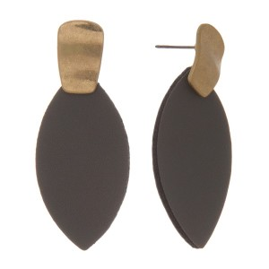 """Gold tone, post earring with a leather oval design. Approximately 2"""" in length."""