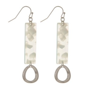 """Fishhook earring with acetate accent and tear drop charm. Approximately 2"""" in length."""