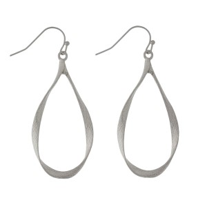 "Twisted metal, fishhook earrings with teardrop shape. Approximately 2"" in length."
