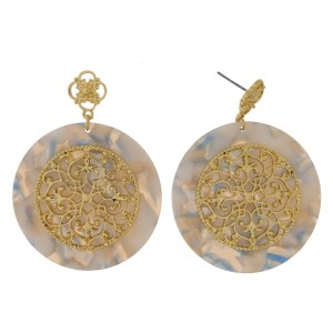 """Metal and acetate post style earrings with a filigree circle. Approximately 1.5"""" in length"""