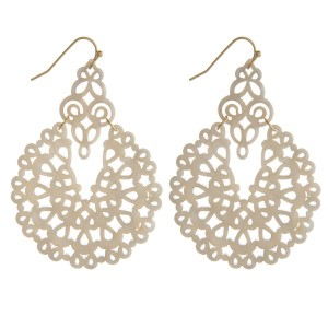 """Gold tone, fishhook earring with filigree acetate design. Approximately 2"""" in length."""