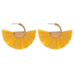 """Gold tone post earring with raffia fan design. Approximately 2"""""""
